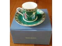 VINTAGE Unused Wedgewood Cup & Saucer Fine Bone China Floral Girls Grecian Design Collectors Boxed