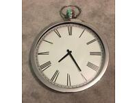 Large polished chrome pocket watch wall clock
