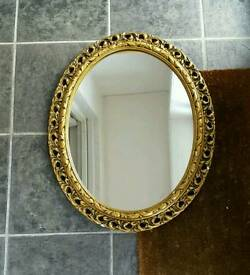 Vintage gold framed mirror florentine Italian scrolling fancy detail