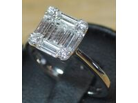 Diamond Ring Cluster Engagement 18ct White Gold 0,55ct Brilliant Baguette cut Clarity SI Colour F