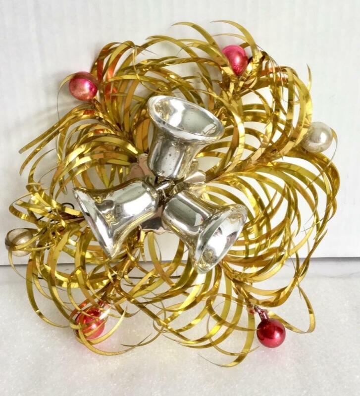 "VINTAGE 9"" GOLD CURVED FOIL BELLS CHRISTMAS DOOR WALL ORNAMENT"
