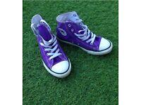 Girls purple converse all star hi tops trainers size uk 2