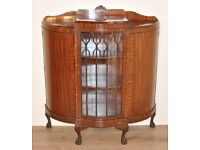 ATTRACTIVE LARGE VINTAGE MAHOGANY TRIPLE DOOR BOW FRONT BOOKCASE DISPLAY CABINET
