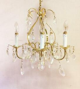 Vintage Gold Toned 5 Arm Chandelier With Original Crystals