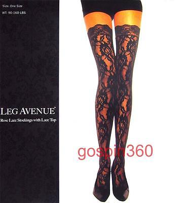 Rose Stocking - ROSE LACE Thigh High Stockings w/ LACE TOPS - BLACK O/S