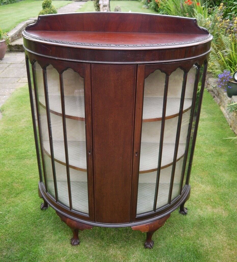 ANTIQUE Display Cabinet Ball & Claw Feet Bowed / Half Round Circa 1900 Lovely Condition