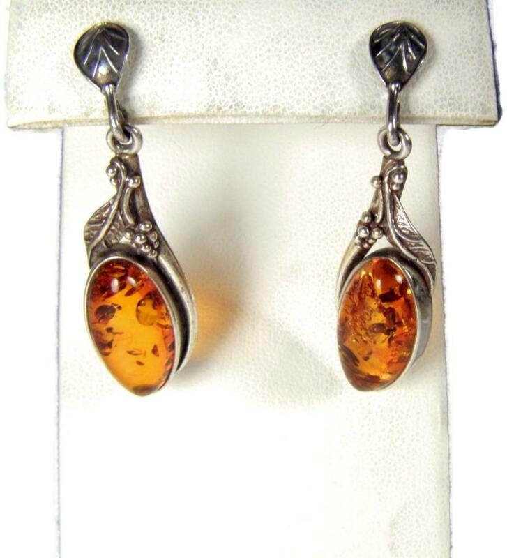 Art Nouveau Baltic Amber & Sterling Silver Dangle Drop Earrings