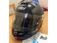 GREX RF2 Flip Front Motorcycle Helmets Metalli Black Size Small Integral Sun Visor Used Twice