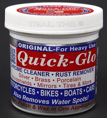 Quick-Glo Original Heavy-Use Chrome Cleaner Rust Remover for Bikes Cars Boat 8oz
