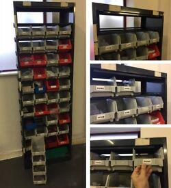 Shelving Steel Freestanding Parts Storage Organiser & 40 Bins SAVING £350