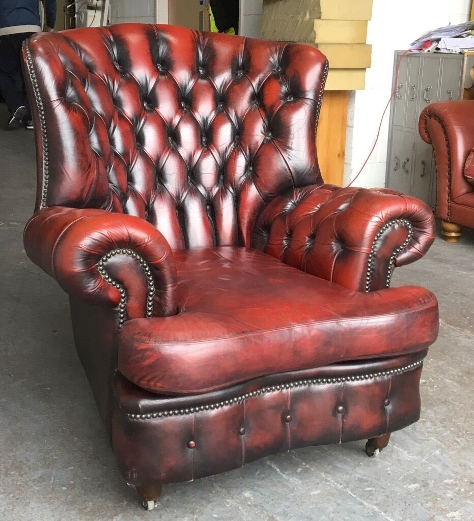 Ox Blood Red leather Chesterfield Wingback monks chair WE DELIVER UK WIDE