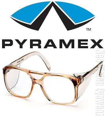 Pyramex Monitor Clear Lens Caramel Retro Aviator Safety Glasses Side Shield Z87