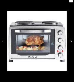 Vonshef 36 litre electric oven, rotisserie and 2 ring hob