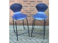 A pair of metal and bentwood high stools