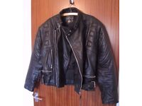 Black Leather Motorcycle Biker Jacket size Small/Medium 38-42 Very Good Condition