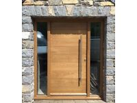 Oak Contemporary Front Door with sidelight!!! Made to measure!!! Bespoke!!!