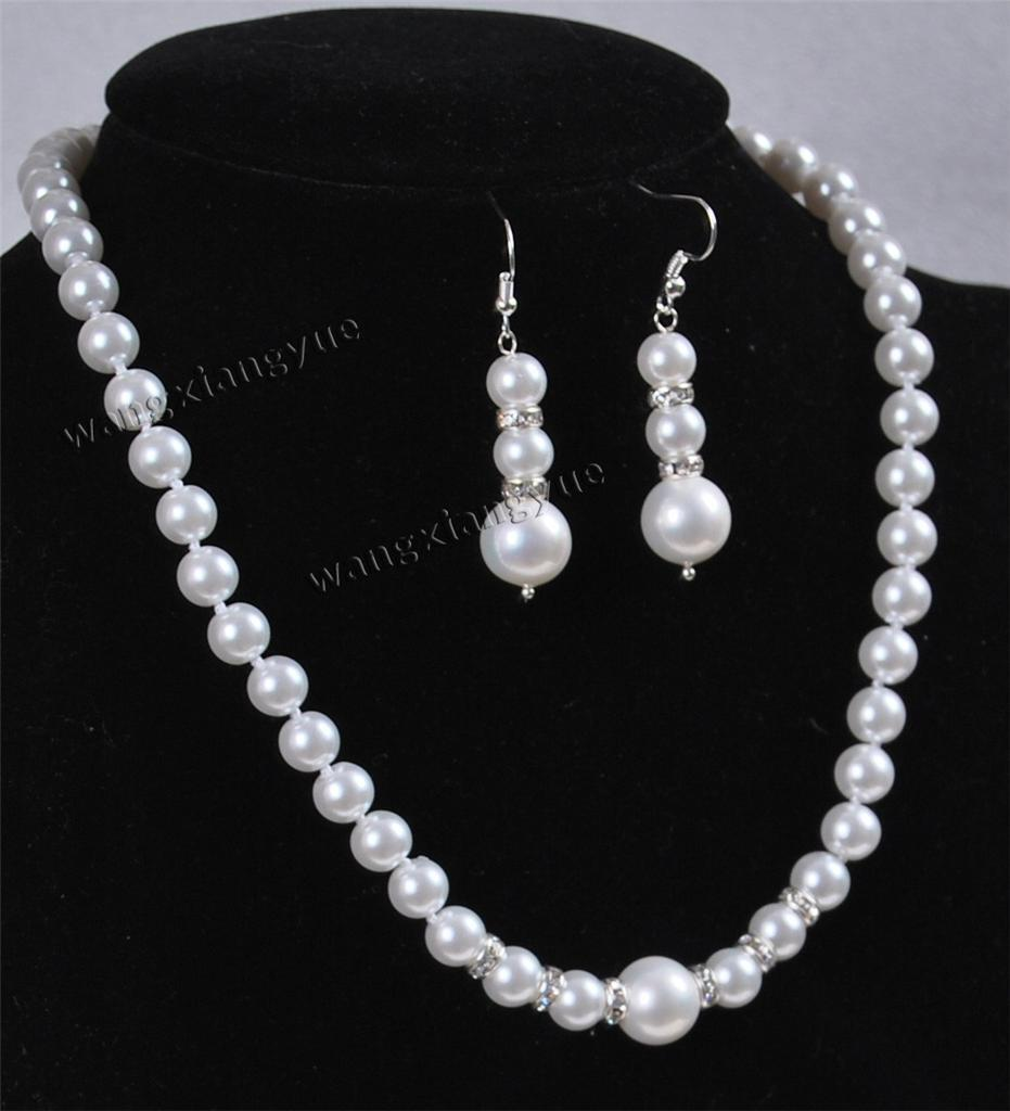 "8MM White Akoya Cultured shell Pearl Necklace Earring Set 18/"" AAA"