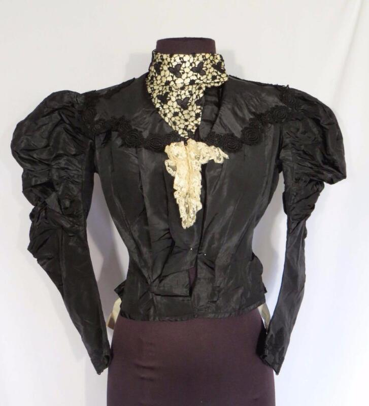 VERY RARE DETAILED FRENCH ANTIQUE VICTORIAN ERA BLACK SILK  BODICE SIZE SMALL