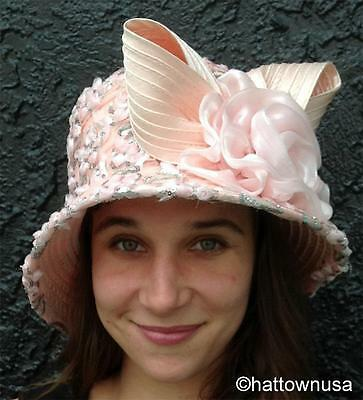 NEW Year Round Pink Cloche Hat with Sweetheart Roses & Sequins WHITTALL & SHON