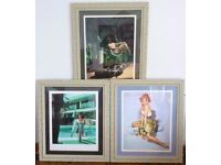 "3 Large Framed Pin-up Prints. Al Buell Pinup Art Girl ""Redheads Get Roses"" + Two Erotic Prints."