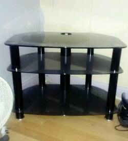 Black Glass TV Stand With Cable Tidy Built In