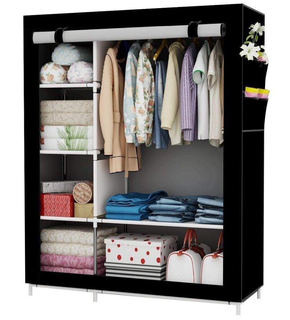 UDEAR Portable Canvas Wardrobes Clothes Storage Shelves Storage Wardrobe  Black105*45 * 170 CM