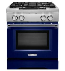 KitchenAid KDRS407VBU 30-Inch Blue 4-Burner Dual Fuel Freestanding Range on Sale (BD-1961)