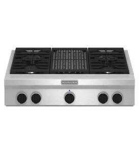 "KITCHENAID NEW KGCU462VSS 36"" GAS, 4 BURNERS CONTINUOUS GRATES  GAS COOKTOP(BD-1502)"