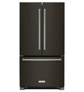 KitchenAid  25 Cu. Ft. Black Stainless Steel French Door Fridge KRFF305EBS (BD-1991)