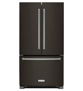 "KitchenAid KRFF305EBS 25 Cu. Ft. Black Stainless Steel 36"" Standard Depth French Door Refrigerator (BD-1991)"
