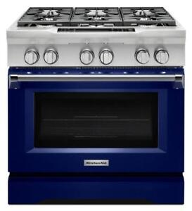 KitchenAid KDRS467VBU 36-Inch Blue 6-Burner Dual Fuel Freestanding Range  (BD-1963)