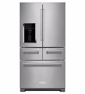 """FLOOR MODEL - 36"""" KitchenAid French Door Fridge with Platinum Interior TAXES INCLUDED"""