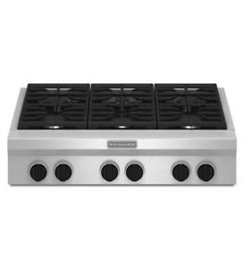 KitchenAid® KGCU467VSS 36-Inch 6-Burner Gas Rangetop, Commercial-Style-Brand New(MP_168)