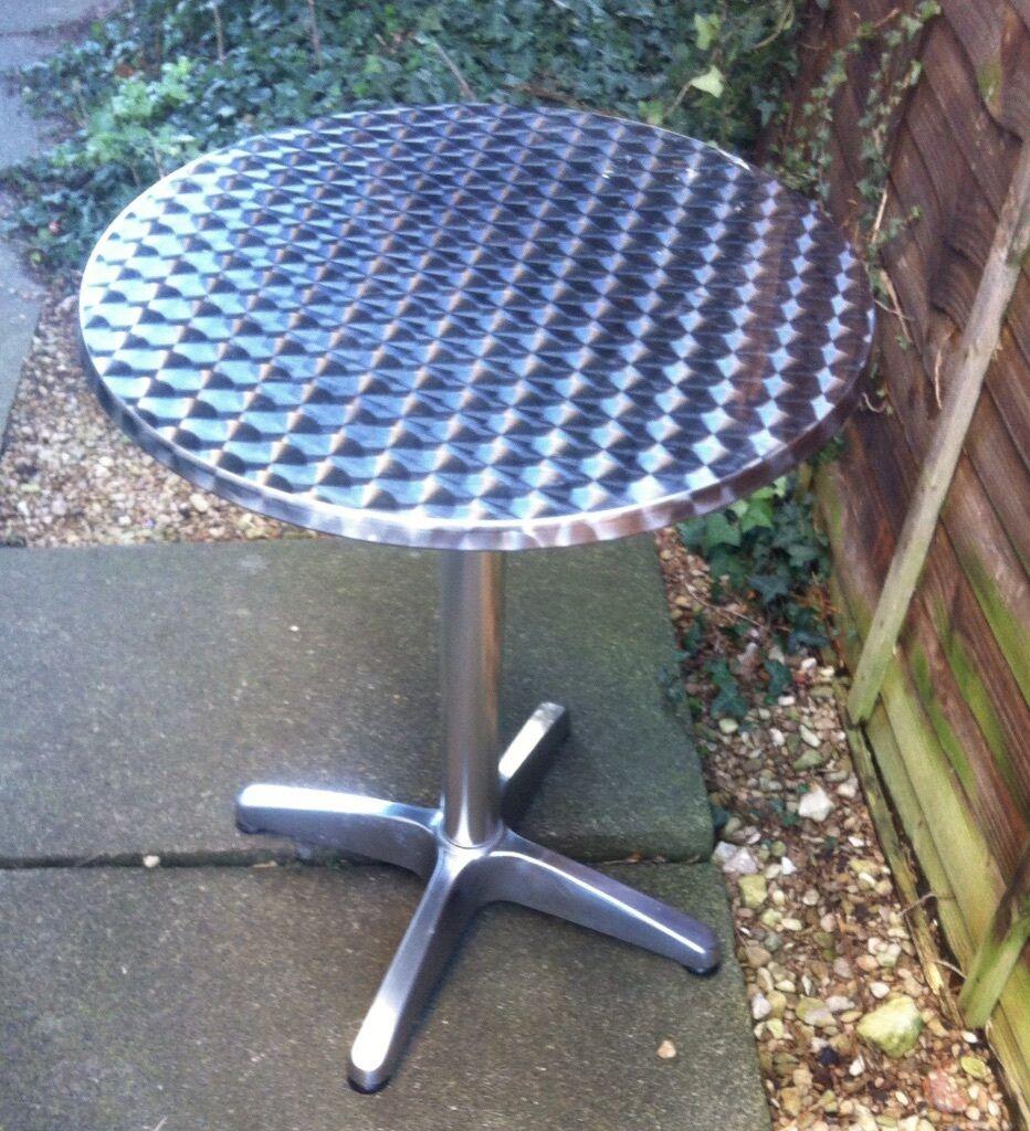 Round garden table 60cm aluminium cafe bistro style outdoor patio table with adjustable feet cheltenham