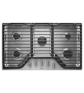 36 in. Gas Cooktop in Stainless Steel|Whirlpool WCG97US6DS Gas Cooktops (BD-979)