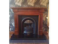 Gas fire, surround and harth