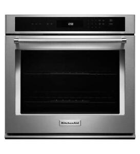 KITCHENAID NEW KOST107ESS 27 SINGLE, 4.3 CU FT., THERMAL,SELF CLEAN,EXTRA LARGE WINDOW  SINGLE WALL OVEN (BD-1535)