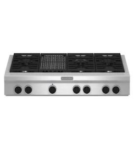 "KITCHENAID KGCU482VSS 48"" GAS 6 BURNERS  GAS COOKTOP (BD-1504)"