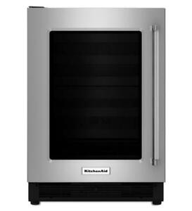 KITCHENAID NEW KURL204ESB 4.9 CU FT., LEFT DOOR SWING, BLACK INTERIOR,3 GLASS SHELVES, DOOR ALARM,BLACK GRILL(BD-1598)