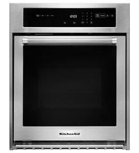 KITCHENAID NEW KOSC504ESS 24 SINGLE,3.1 CU FT,TRUE CONVECTION,SELF CLEAN,EXTRA LARGE WINDOW  SINGLE WALL OVEN(BD-1529)