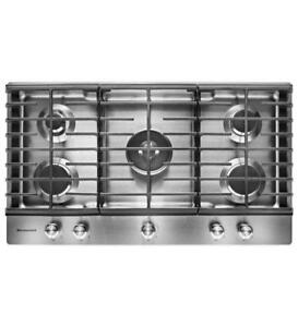KITCHENAID NEW KCGS956ESS 36 GAS, 5 BURNERS CONTINUOUS GRATES  GAS COOKTOP (BD-1514)