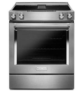 KitchenAid® KSEG950ESS  4-Element Electric Downdraft Front Control Range-30-Inch Wide-Brand New(MP_160)