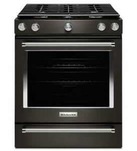 KitchenAid KSGG700EBS  Black Stainless Steel 30-Inch 5-Burner Gas Convection Range  (BD-1969)