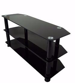 "Black Glass TV Stand For 32"" Up To 60"" 3D LED LCD & Plasma Television (Black Glass - Black Leg)"