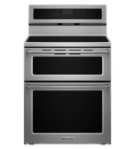 KitchenAid® YKFID500ESS 30-Inch 4 elements Induction Double Oven Convection Range-Brand New(MP_154)
