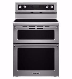 KitchenAid Double oven range, true convection, stainless