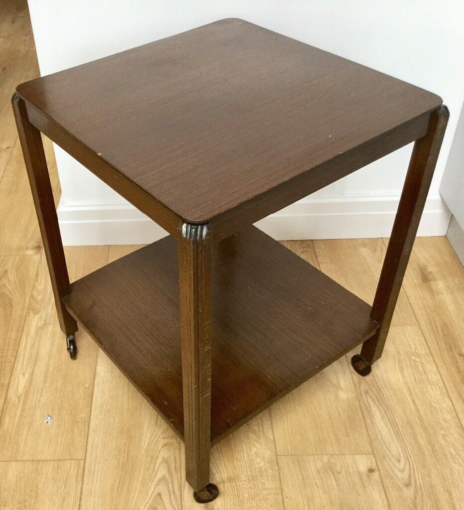 Retro 1950s Wooden Coffee Table Wheeled Bakelite Art Deco Seymour Tv Trolley