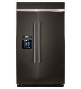 48-inch KitchenAid Refrigerator, Side-by-Side, Black stainless, Showroom
