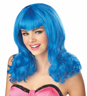 Katy Perry Teenage Dream Adult Costume Wig Hair Blue - Katy Perry Teenage Dream Costume