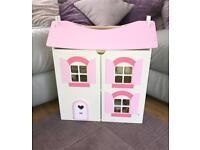 Pink/cream Wooden Children's Dolls House with furniture